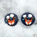 De nouveaux boutons en fimo : le renard et les nuages