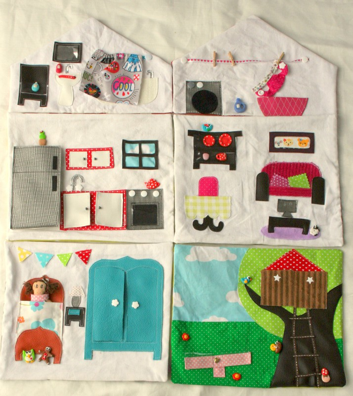 ma maison de poup e en tissu la maison en entier. Black Bedroom Furniture Sets. Home Design Ideas